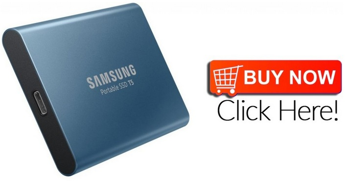 Exclusive Offer Samsung T5 Portable SSD with USB 3.1 Hardware Encryption - 500GB LAKE BLUE